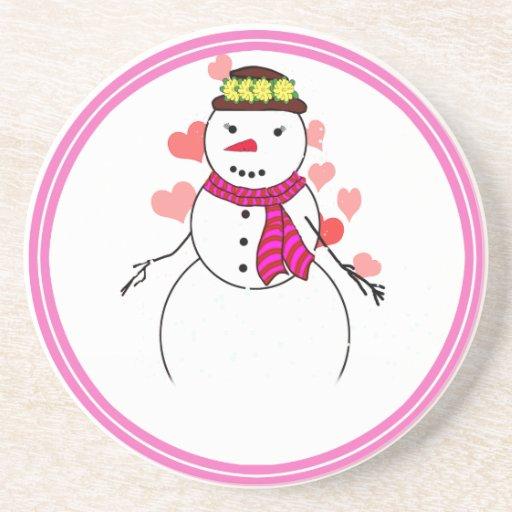 Cartoon Snowman Little Flirty Sweetheart Beverage Coaster