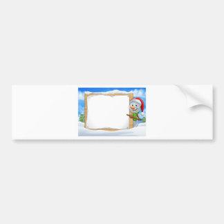 Cartoon Snowman Santa Hat Sign Scene Bumper Sticker