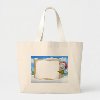 Cartoon Snowman Santa Hat Sign Scene Large Tote Bag
