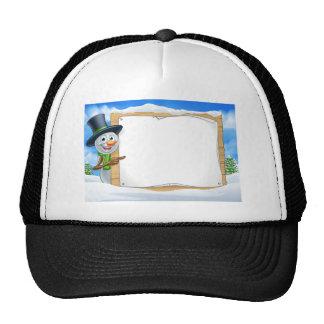 Cartoon Snowman Sign Scene Cap