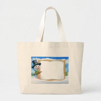 Cartoon Snowman Sign Scene Large Tote Bag