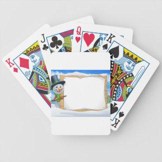 Cartoon Snowman Sign Scene Poker Deck