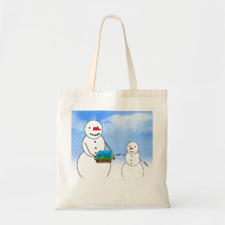 Cartoon Snowmen Going Back to School Budget Tote Bag
