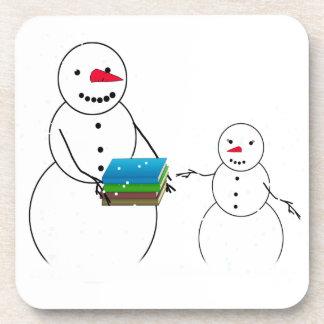 Cartoon Snowmen Going Back to School Beverage Coasters
