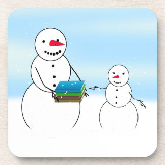 Cartoon Snowmen Going Back to School Coasters