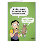 Cartoon Sock Monkey Birthday Card