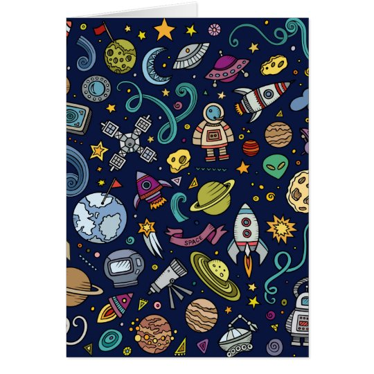 Cartoon Space Explorer Birthday Kids Theme Card
