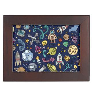 Cartoon Space Explorer Birthday Kids Theme Keepsake Box