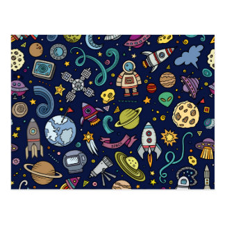 Cartoon Space Explorer Birthday Kids Theme Postcard