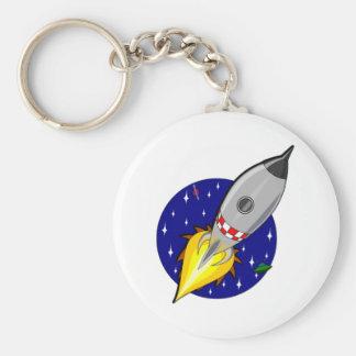 Cartoon Space Rocket Basic Round Button Key Ring