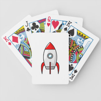 Cartoon Space Rocket Bicycle Playing Cards