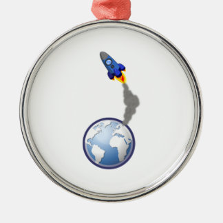 Cartoon Space Rocket Ornament