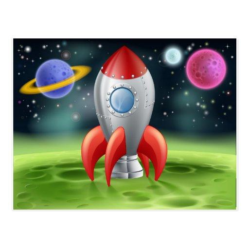 Cartoon Space Rocket on Alien Planet Post Card