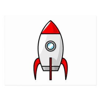 Cartoon Space Rocket Postcard