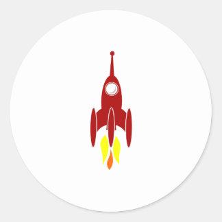 Cartoon Space Rocket Round Sticker