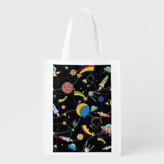 Cartoon Space Scene Reusable Grocery Bag