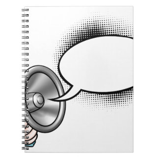 Cartoon Speech Bubble Megaphone Notebook