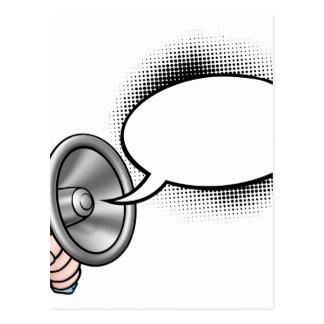 Cartoon Speech Bubble Megaphone Postcard