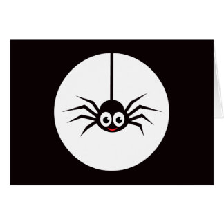 Cartoon spider in front of full moon card