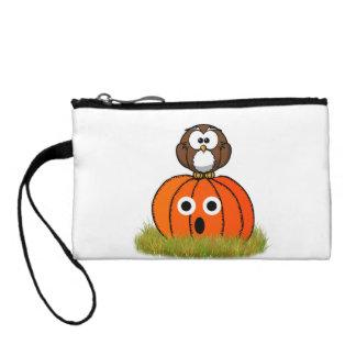 Cartoon  Spooked Owl & Halloween Pumpkin Coin Purse