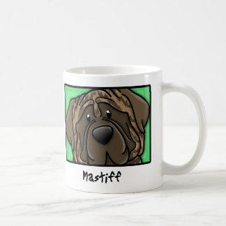 Cartoon Square Brindle Mastiff Basic White Mug