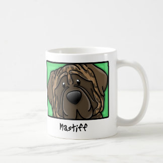 Cartoon Square Brindle Mastiff Classic White Coffee Mug