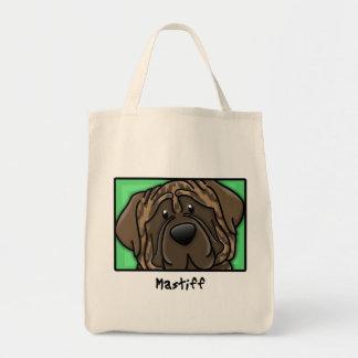 Cartoon Square Brindle Mastiff Tote Bag