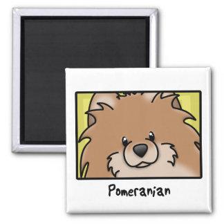 Cartoon Square Red Pomeranian Magnet