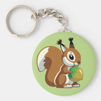 cartoon squirrel basic round button key ring