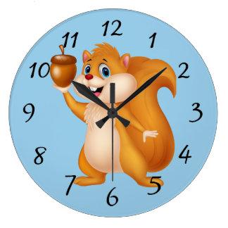 Cartoon Squirrel with Acorn Large Clock