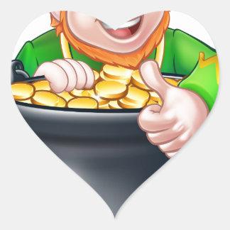 Cartoon St Patricks Day Leprechaun and Pot of Gold Heart Sticker
