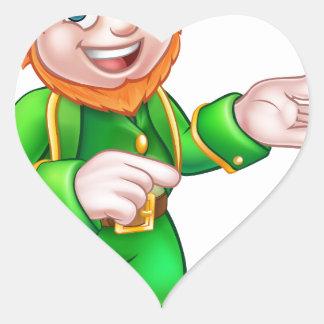 Cartoon St Patricks Day Leprechaun Pointing Heart Sticker