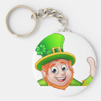 Cartoon St Patricks Day Leprechaun Top of Sign Basic Round Button Key Ring