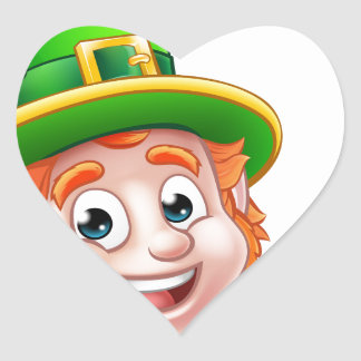 Cartoon St Patricks Day Leprechaun Top of Sign Heart Sticker