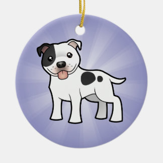 Cartoon Staffordshire Bull Terrier (add your msg) Round Ceramic Decoration