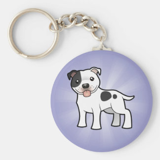 Cartoon Staffordshire Bull Terrier Basic Round Button Key Ring