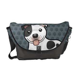 Cartoon Staffordshire Bull Terrier Courier Bags