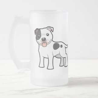 Cartoon Staffordshire Bull Terrier Frosted Glass Beer Mug