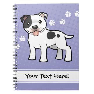 Cartoon Staffordshire Bull Terrier Note Books