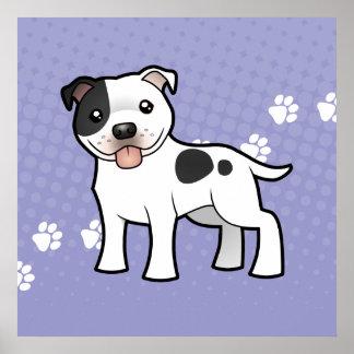 Cartoon Staffordshire Bull Terrier Poster