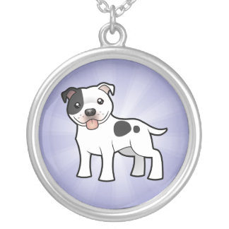 Cartoon Staffordshire Bull Terrier Silver Plated Necklace