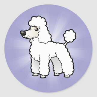 Cartoon Standard/Miniature/Toy Poodle Classic Round Sticker