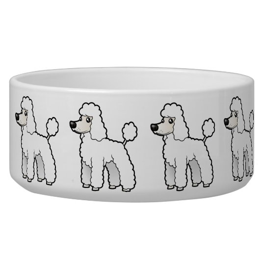 Cartoon Standard/Miniature/Toy Poodle Dog Food Bowls
