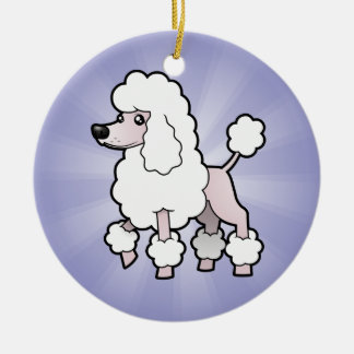 Cartoon Standard/Miniature/Toy Poodle (show cut) Christmas Ornament