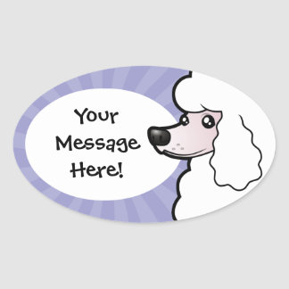 Cartoon Standard/Miniature/Toy Poodle (show cut) Oval Sticker