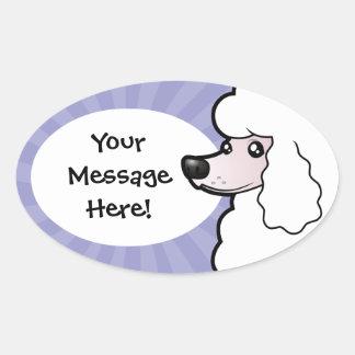Cartoon Standard/Miniature/Toy Poodle (show cut) Oval Sticker