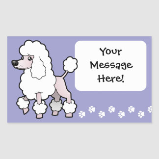 Cartoon Standard/Miniature/Toy Poodle (show cut) Rectangular Sticker