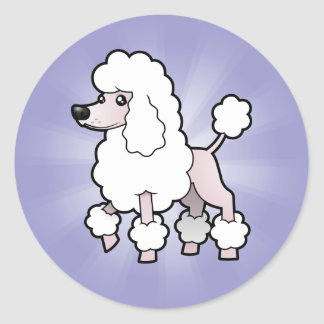 Cartoon Standard/Miniature/Toy Poodle (show cut) Round Sticker