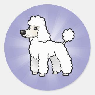 Cartoon Standard/Miniature/Toy Poodle Round Sticker