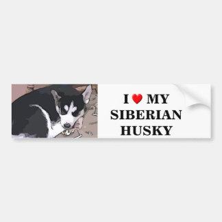 Cartoon sticker of a husky pup bumper sticker